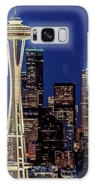Space Needle And Skyline At Dusk Galaxy Case by Rob Green