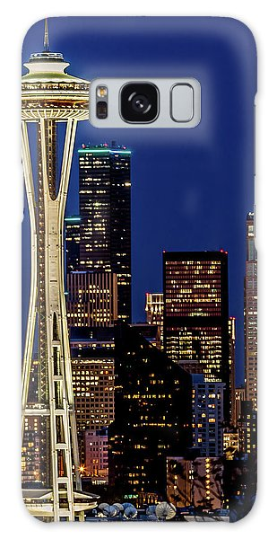 Space Needle And Skyline At Dusk Galaxy Case