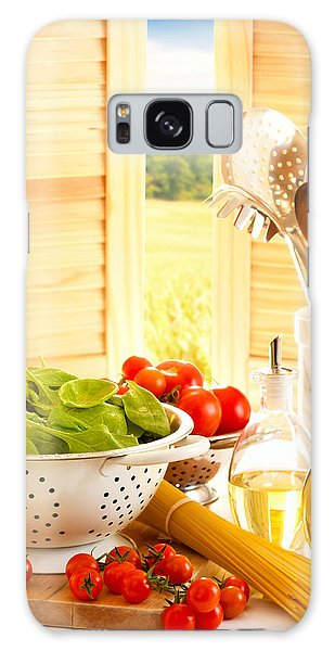 Spaghetti And Tomatoes In Country Kitchen Galaxy Case by Amanda Elwell