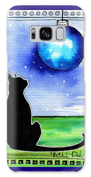 Sparkling Blue Bauble - Christmas Cat Galaxy Case