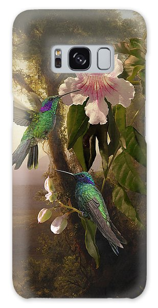 Sparkling Violetear Hummingbirds And Trumpet Flower Galaxy Case