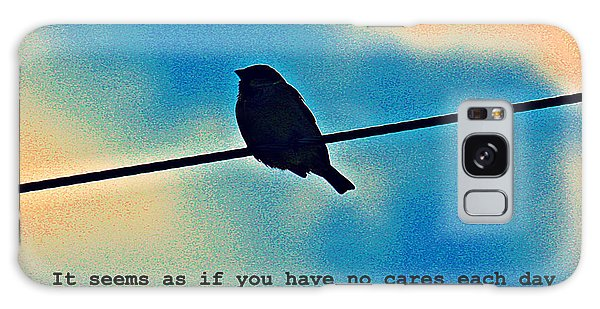 Sparrow On The Wire- Fine Art And Poetry Galaxy Case
