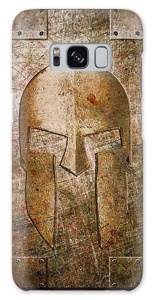 Spartan Helmet On Metal Sheet With Copper Hue Galaxy Case