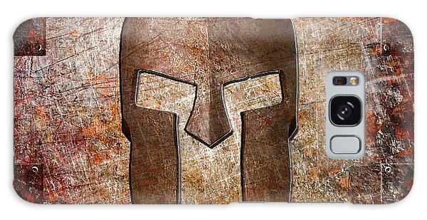 Spartan Helmet On Rusted Riveted Metal Sheet Galaxy Case