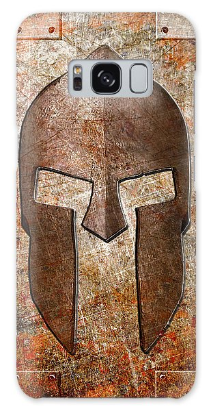 Spartan Helmet On Rusted Riveted Metal Sheet Galaxy Case