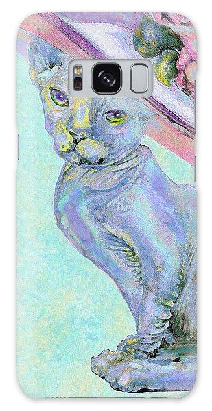Sphinx In Pink Hat Galaxy Case by Jane Schnetlage