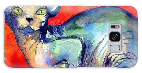 Watercolor Pet Portraits Galaxy Case - Sphynx Cat 6 Painting by Svetlana Novikova