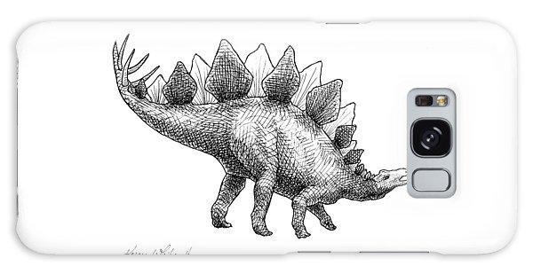 Spike The Stegosaurus - Black And White Dinosaur Drawing Galaxy Case