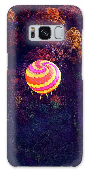 Spiral Colored Hot Air Balloon Over Fall Tree Tops Mchenry   Galaxy Case