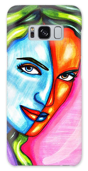 Split Personality Woman Abstract Drawing Galaxy Case