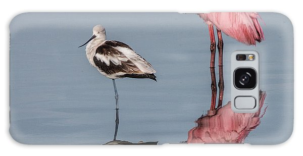 Spoonbill, American Avocet, And Reflection Galaxy Case