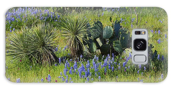 Spring Cactus, Yucca And Blue Bonnets Galaxy Case by Linda Phelps