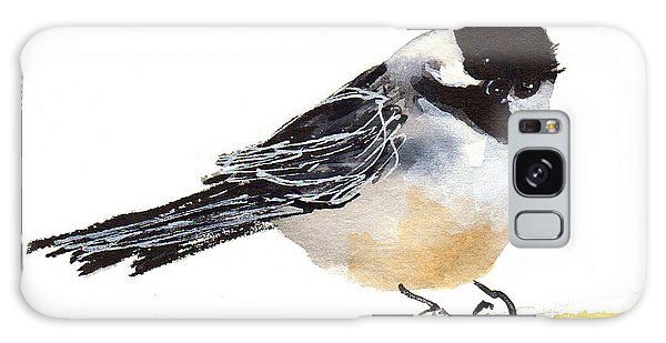 My Little Chickadee Bird Art Watercolor And Gouache And Ink Painting By Kmcelwaine Galaxy Case