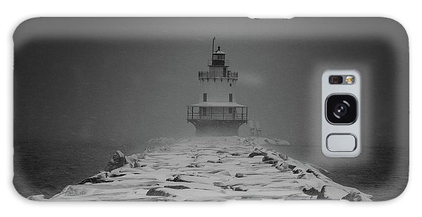 Spring Point Ledge Lighthouse Blizzard In Black N White Galaxy Case