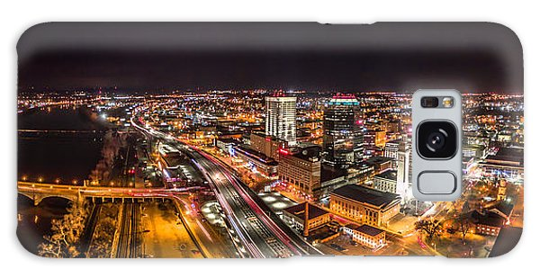 Springfield Massachusetts Night Long Exposure Panorama Galaxy Case by Petr Hejl