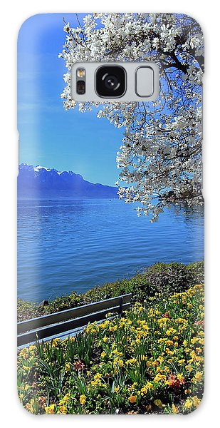 Springtime At Geneva Or Leman Lake, Montreux, Switzerland Galaxy Case by Elenarts - Elena Duvernay photo