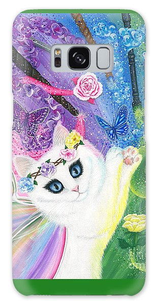 Galaxy Case featuring the painting Springtime Magic - White Fairy Cat by Carrie Hawks