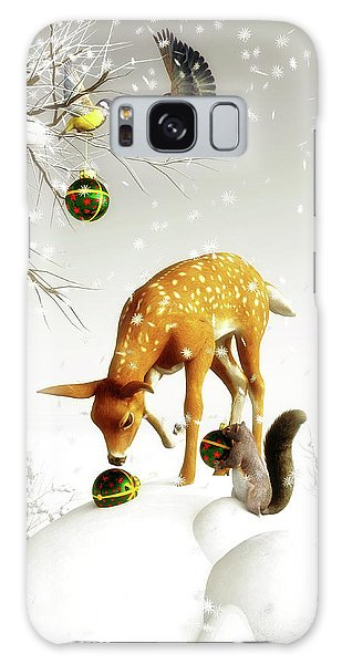 Squirrels And Deer Christmas Time Galaxy Case
