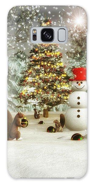 Squirrels Decorating Christmas Galaxy Case