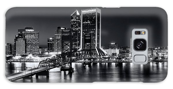 St Johns River Skyline By Night, Jacksonville, Florida In Black And White Galaxy Case
