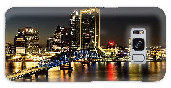 St Johns River Skyline By Night, Jacksonville, Florida Galaxy Case