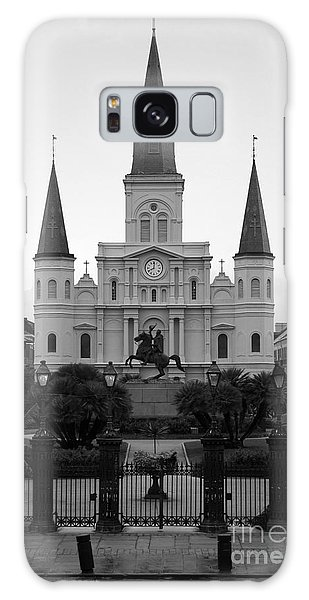St Louis Cathedral On Jackson Square In The French Quarter New Orleans Black And White Galaxy Case
