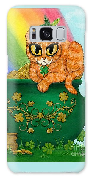Galaxy Case featuring the painting St. Paddy's Day Cat - Orange Tabby by Carrie Hawks