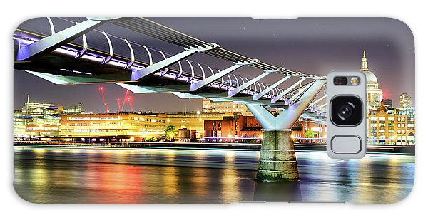 St Paul's Cathedral During Night From The Millennium Bridge Over River Thames, London, United Kingdom. Galaxy Case