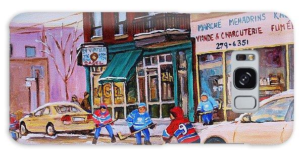 St. Viateur Bagel With Boys Playing Hockey Galaxy Case by Carole Spandau