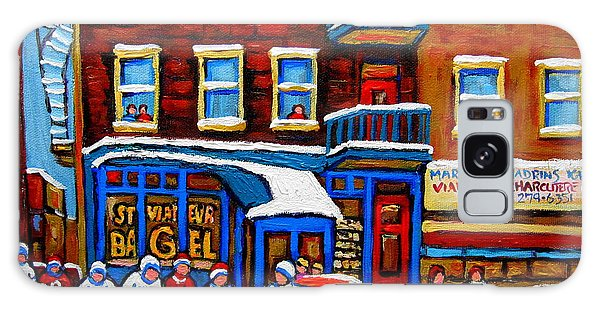 St Viateur Bagel With Hockey Montreal Winter Street Scene Galaxy Case