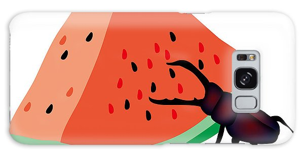 Galaxy Case - Stag Beetle Is Eating A Piece Of Red Watermelon by Moto-hal