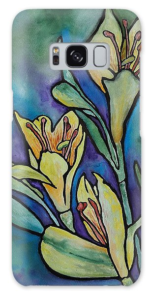 Stained Glass Flowers Galaxy Case