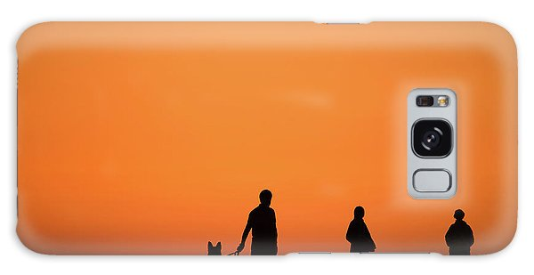 Standing At Sunset Galaxy Case