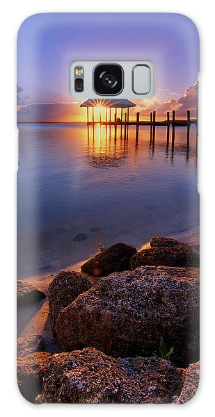 Starburst Sunset Over House Of Refuge Pier In Hutchinson Island At Jensen Beach, Fla Galaxy Case