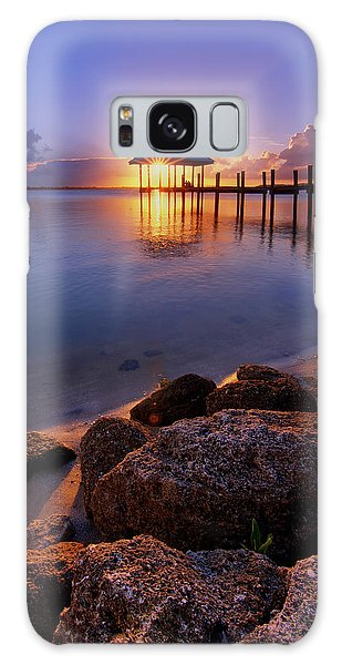 Starburst Sunset Over House Of Refuge Pier In Hutchinson Island At Jensen Beach, Fla Galaxy Case by Justin Kelefas