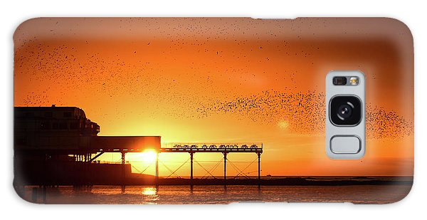 Starlings At Sunset Over Aberystwyth Pier Galaxy Case