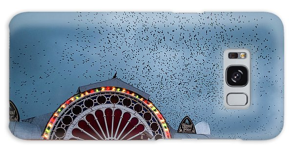 Starlings Over The Neon Lights Of Aberystwyth Pier Galaxy Case