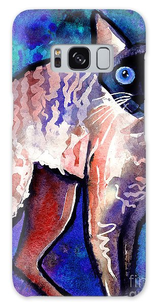 Watercolor Pet Portraits Galaxy Case - Startled Cornish Rex Cat by Svetlana Novikova