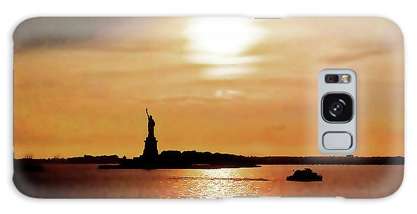 Statue Of Liberty At Sunset Galaxy Case