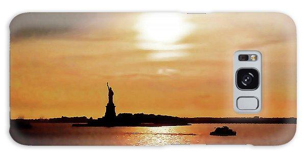 Statue Of Liberty At Sunset Galaxy Case