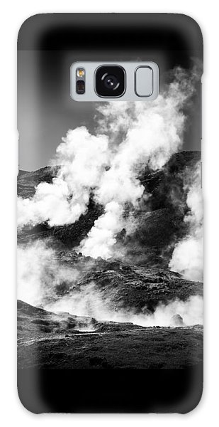 Galaxy Case featuring the photograph Steaming Iceland Black And White Landscape by Matthias Hauser