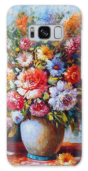 Still Life Colourful Flowers In Bloom Galaxy Case