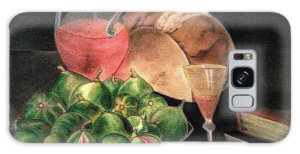 Still Life Of Figs, Wine, Bread And Books Galaxy Case
