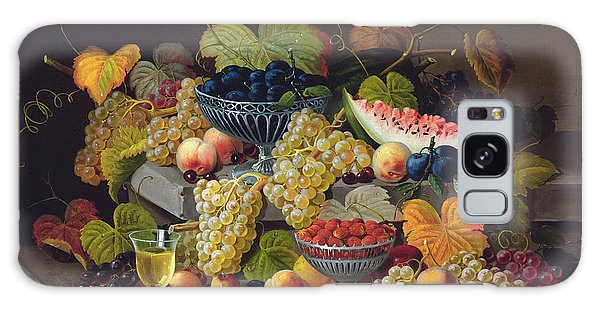 Still Life Of Melon Plums Grapes Cherries Strawberries On Stone Ledge Galaxy Case by Severin Roesen