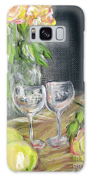 Still Life With Lemons, Roses  And Grapes. Painting Galaxy Case