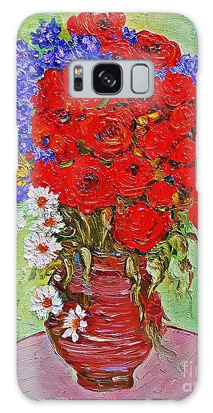 Still Life With Poppies And Blue Flowers Galaxy Case
