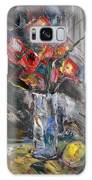 Still Life With Red Flowers And Lemon Galaxy Case