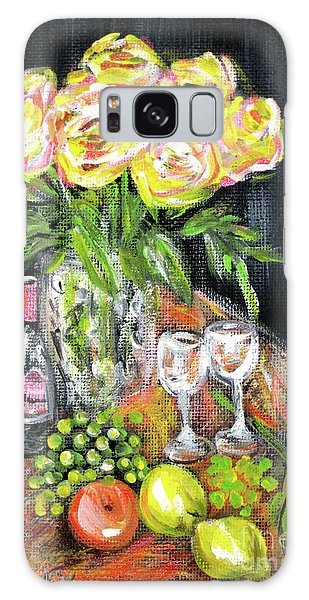 Still Life With Roses, Fruits, Wine. Painting Galaxy Case