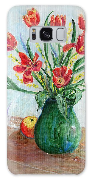 Still Life With Tulips And Apples - Painting Galaxy Case