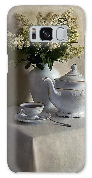 Still Life With White Tea Set And Bouquet Of White Flowers Galaxy Case by Jaroslaw Blaminsky